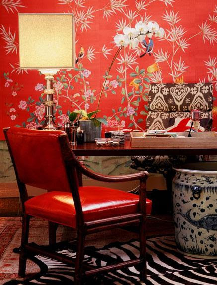 handpainted wallpaper in a home office