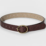 Women's Adjustable Jean Belt with Rounded Design Buckle - Universal Thread Brown