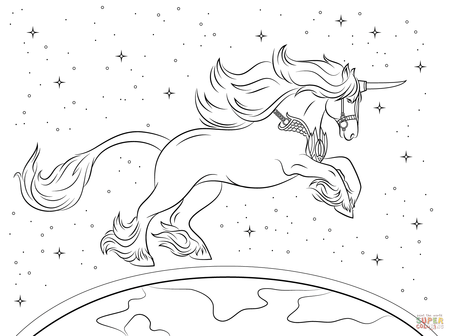 Beautiful Unicorn coloring page | Free Printable Coloring ...