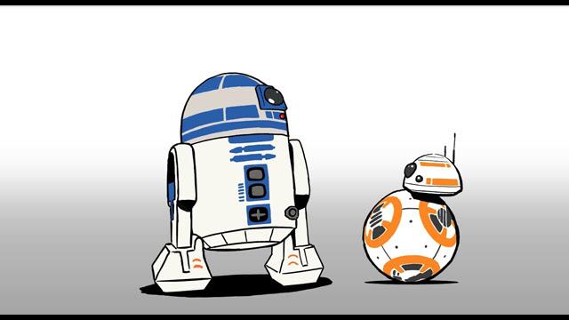スターウォーズ R2 D2とbb 8が出演するミニアニメーション映像を