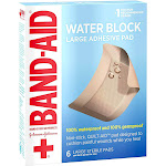 Band-Aid Large Waterproof Pad 2.875 Inches X 4 Inches - 6 Count