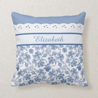 Custom Indigo Floral Faux Lace Pillow or Cushion