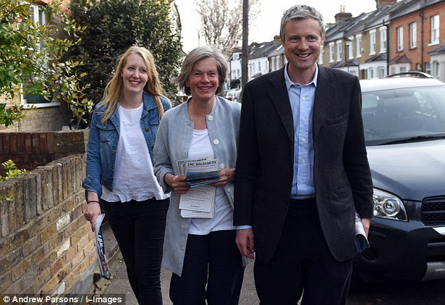 Tory candidate Zac Goldsmith, pictured on the campaign trail, faced a firestorm of criticism from the Tories after losing heavily