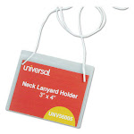 Clear Badge Holders w/Neck Lanyards, 3 x 4, White Inserts, 100/Box 56005