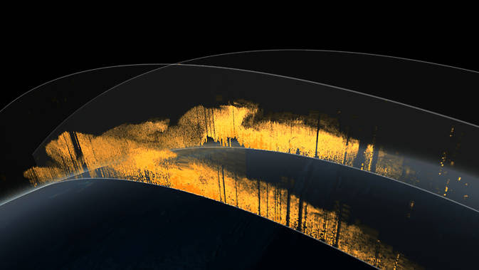 visualization of CALIPSO satellite's lidar instrument reading pulses of light bounced from atmospheric particles