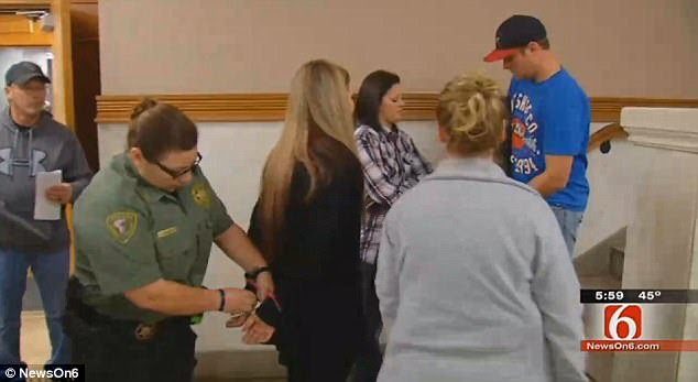 Locked up: The couple were handcuffed and booked into an Oklahoma county prison on Tuesday