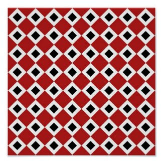 Red, White, Black Diamond Pattern Poster