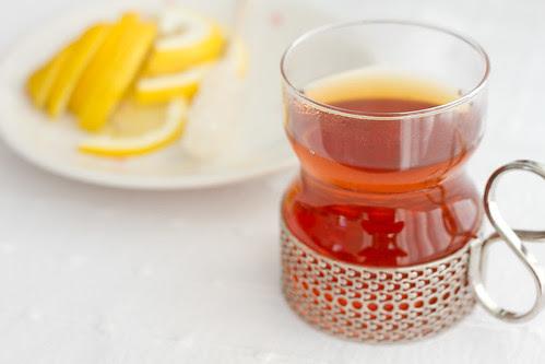 Enjoying the Russian Revels black tea with lemon and cloves