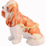 Ciel Collectables 1013477B Brown & White King Charles Dog Gold Plating Trinket Box - Swarovski Crystals & Enamel