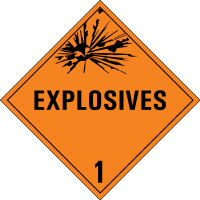 ADR labels for dangerous goods, class 1 - Expl...