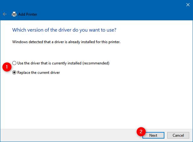 Utilice el controlador que está instalado actualmente o Reemplace el controlador actual