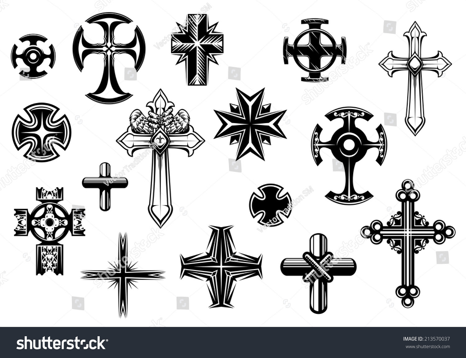 Religious Crosses Set Isolated On White Background For ...