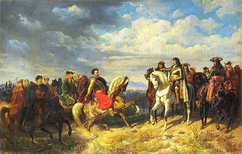 King Jan III Sobieski meets Emperor Leopold I. Painting by Artur Grottger