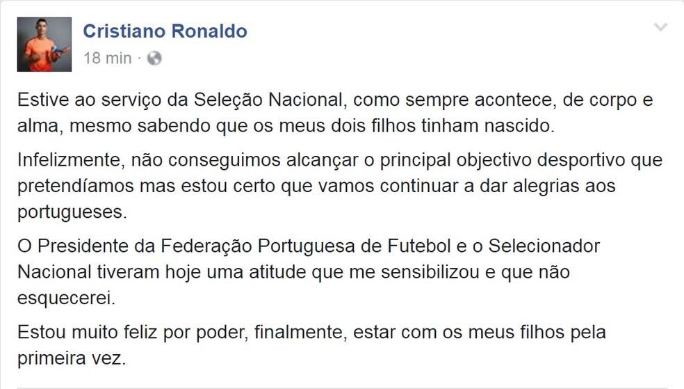 Cristiano Ronaldo faz comunciado em que explicava a saída da seleção portuguesa na Copa das Confederações (Foto: Reprodução/Facebook)