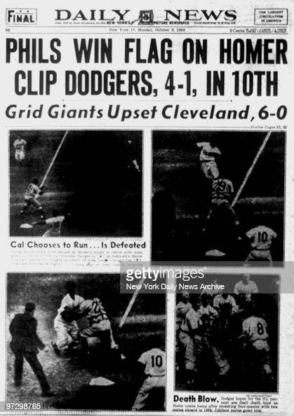 New York Daily News front page October 2, 1950 , 'Phils Win ...