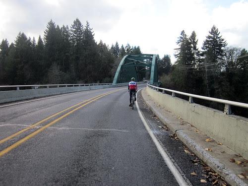 Kevin crossing the Clackamas River Bridge by Barton Park