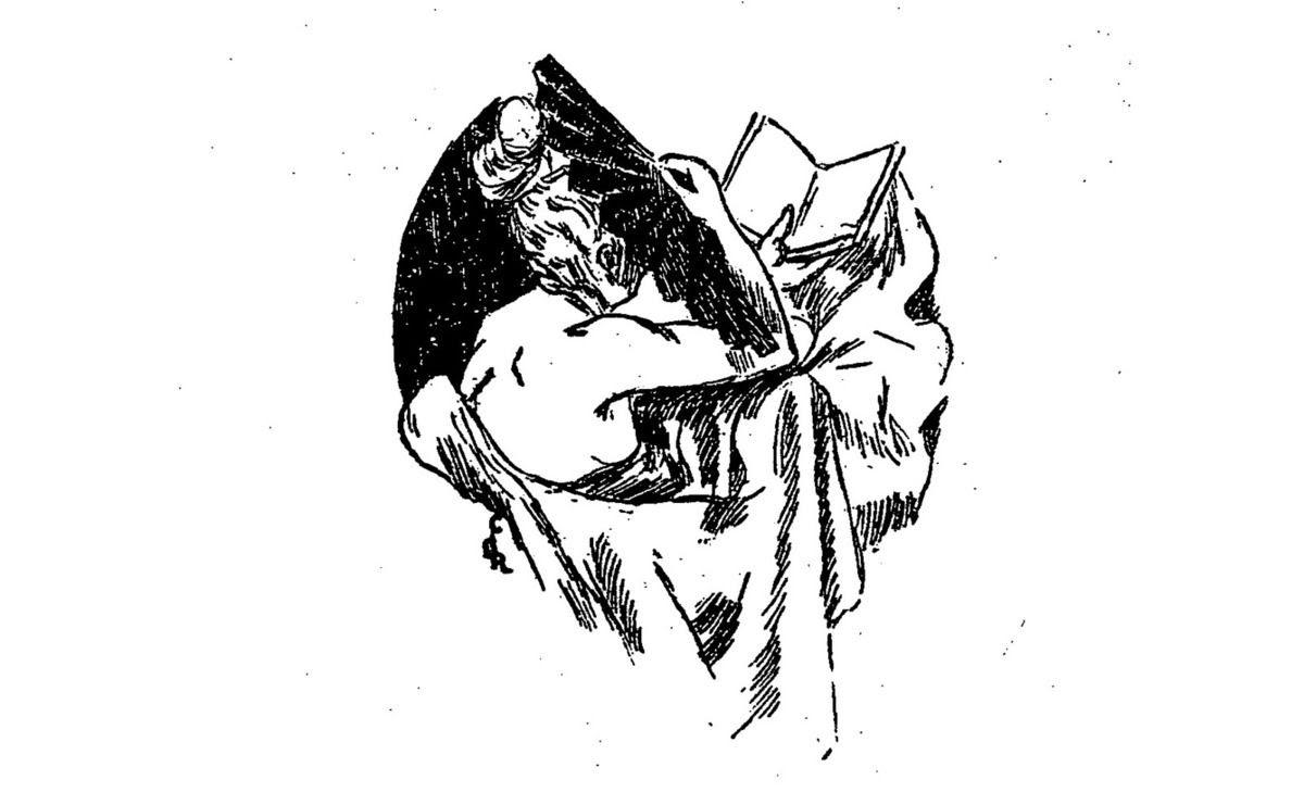 """Claire Demolder, vignette pour la revue """"Le Mercure de France"""", n°112, avril 1899, p.113, pour «D'un hiver tiède» de Fernand Caussy ; reprise notamment dans le n°119, novembre 1899, p.342 pour «La Bataille pour un mort» d'Hugues Rebell."""