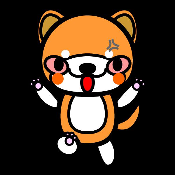 かわいい怒っている怒り顔の秋田犬の無料イラスト商用フリー オイデ43