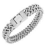 Stainless Steel White CZ Silver-Tone Double Chain Mens Bracelet