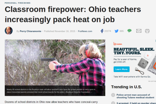Ohio Teachers Carrying Guns In Classroom