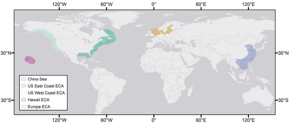 Figure 4. Regions over which aerosol optical thickness was assessed. Image Credit: Basemap: ESRI, DeLorme, HERE, MapMyIndia
