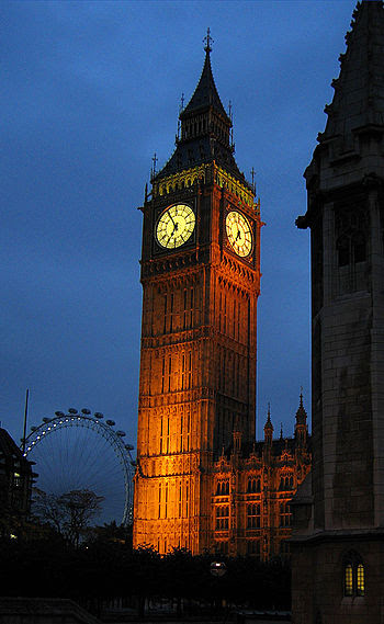 The clock tower of Big Ben at dusk. The north ...