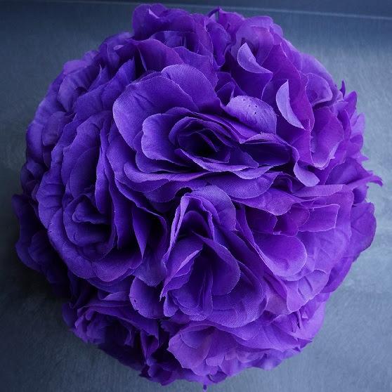 purple 7 and 10 inch silk flower pomander kissing balls.