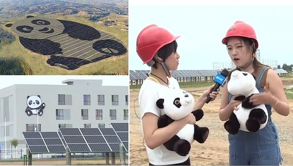 China planea construir 100 plantas solares más con forma de oso panda (VIDEO)