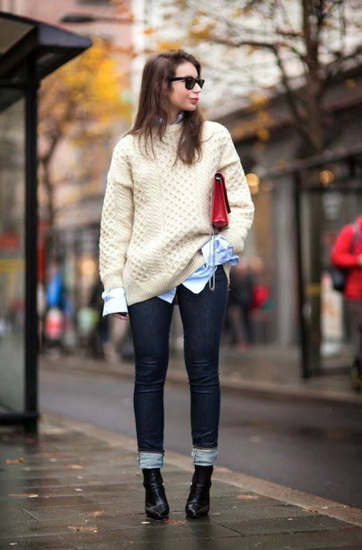 Le Fashion Blog Winter Style Beige Fisherman Sweater Blue Button Down Red Bag Dark Wash Denim Black Point Toe Ankle Boots Via A Portable Package