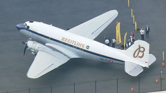 Iconic Breitling DC-3 airplane makes stop in Seattle on historic World Tour