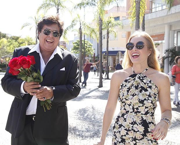 Sidney Magal e Angélica gravam em shopping do Rio (Foto: Raphael Dias / TV Globo)