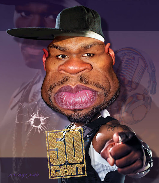 Rapper 50 Cent - Rodney Pike Humorous Illustrator