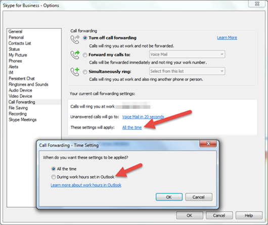 Setting Skype for Business Call Forwarding based on Outlook working hours