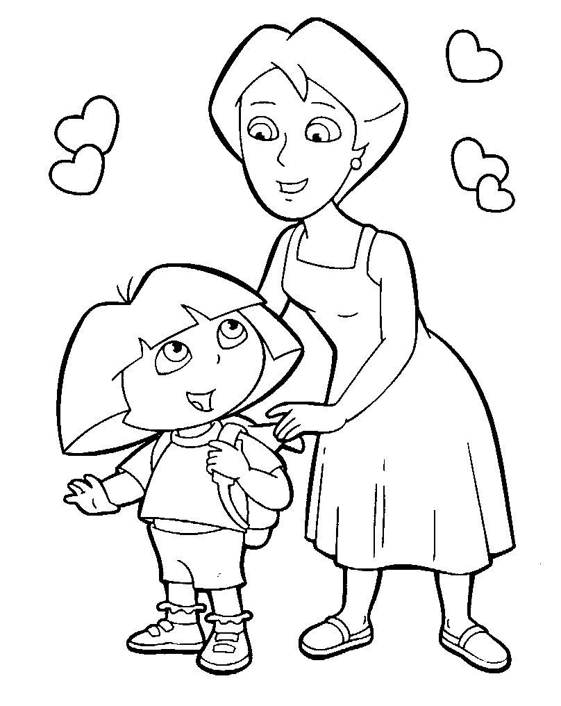 coloriage dora et sa maman