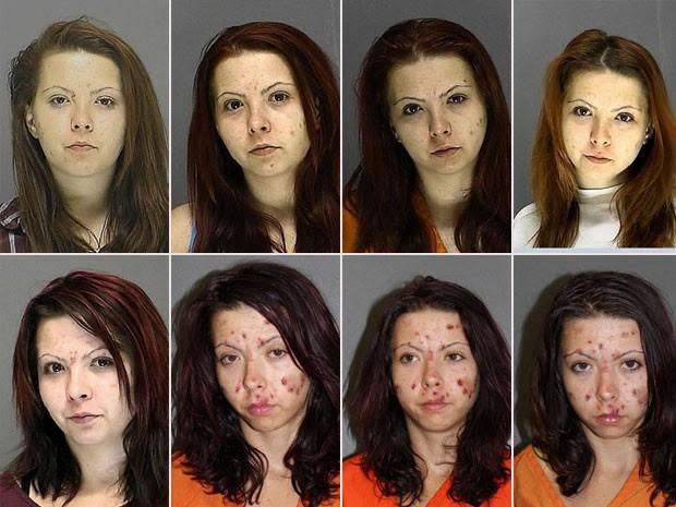 Bridgitte Matzke em fotos de algumas de suas prisões nos últimos três anos. A primeira foi em 2011. A última mostra a mulher durante sua prisão nesta segunda-feira (11), após roubar e agredir sua avó (Foto: Volusia County Corrections)