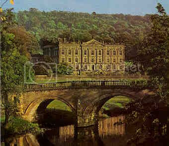Chatsworth, Derbyshire, England. Some scenes of P&P were filmed here. Bess of Hardwick settled here in 1549 & it has belonged to the Cavendish family ever since. Bess's second Husband was a Cavendish.