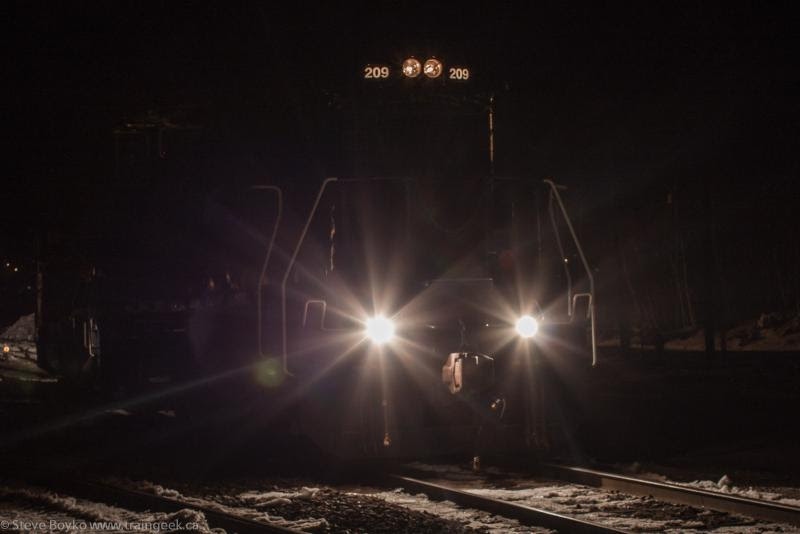 GMTX 209 at night in McAdam New Brunswick