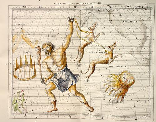 005-El pastor la Cabellara de Verenice y el Can-Atlas Coelestis-coloreado a mano edicon de 1753 Londres-John Flamsteed