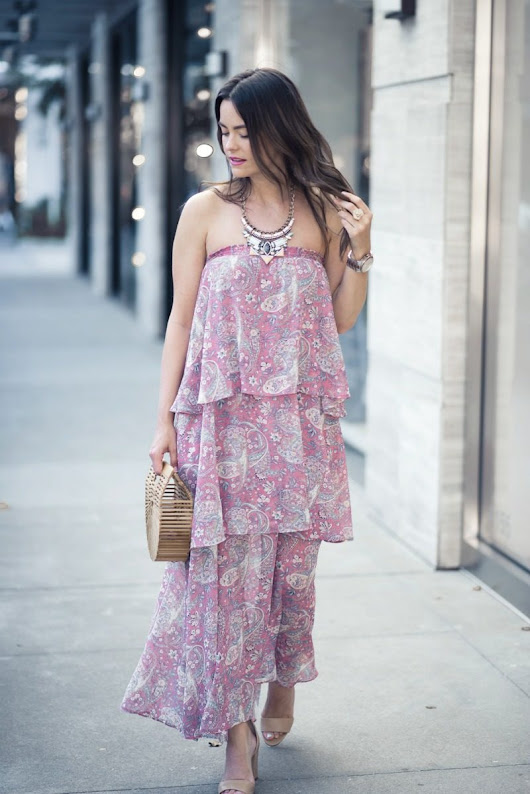PAISLEY CONVERTIBLE STRAPLESS DRESS | The Styled Fox