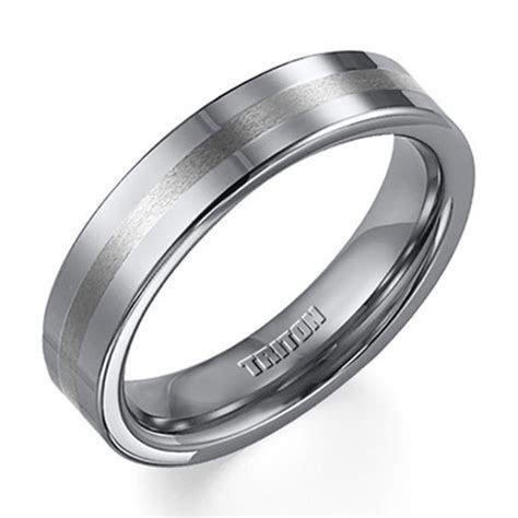 Triton Men's 5.0mm Comfort Fit Tungsten Stripe Wedding