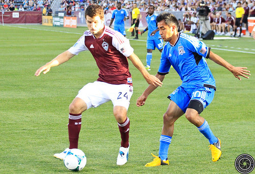 Nathan Sturgis (Rapids), Rafael Baca (Earthquakes), Colorado Rapids vs San Jose Earthquakes June 15th 2013 by Corbin Elliott Photography