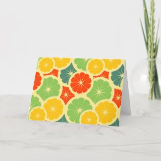Colorful Citrus Fruit Greeting / Thank You card