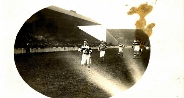 Rare image: 15-year-old Kevin Barry playing for his school, Belvedere College, in the 1917 Leinster Schools Rugby Cup