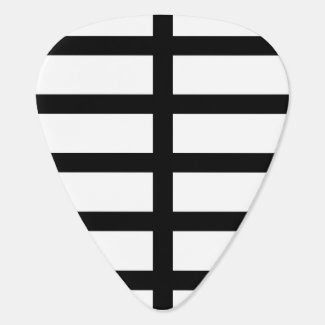 5 Bisected Black Lines Guitar Pick