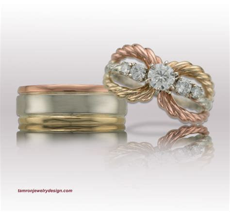 Tri gold Wedding Set   TamRon Jewelry