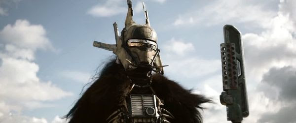 Enfys Nest has a standoff with Han Solo (off-screen) in SOLO: A STAR WARS STORY.