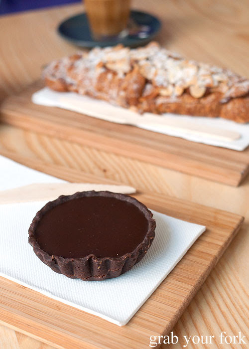 luxe bakery salted caramel chocolate tart at the stables cafe surry hills