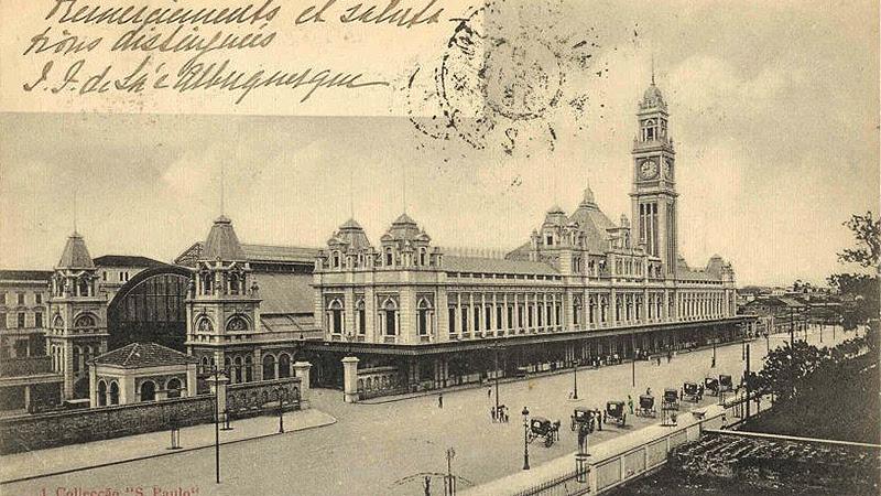 Cartão portal de 1903, com imagem da Estação da Luz
