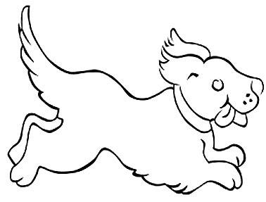 Welpe Malvorlage - Hundebaby laufend als Ausmalbild