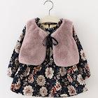 PatPat Black Baby Dress 9-12 mo Unisex Spandex - 2 Pcs Plush Lined Floral Dress and Faux Fur Vest Set